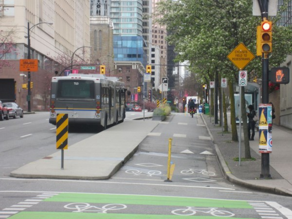 Cycletrack in Vancouver with bollard. Photo courtesy of  velotraffic.com .