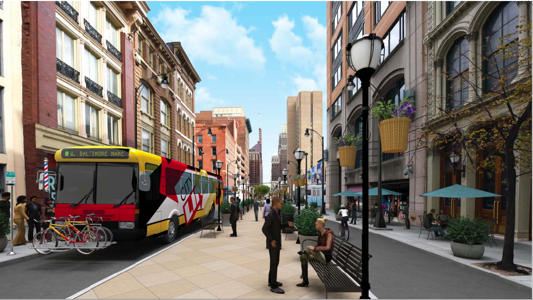 A rendering of a proposed corridor that would be closed to cars, but open to transit and bikes.