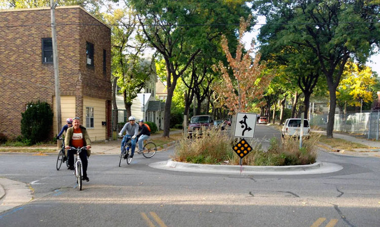 A traffic circle in Minneapolis on a similar sized street to Guilford Ave