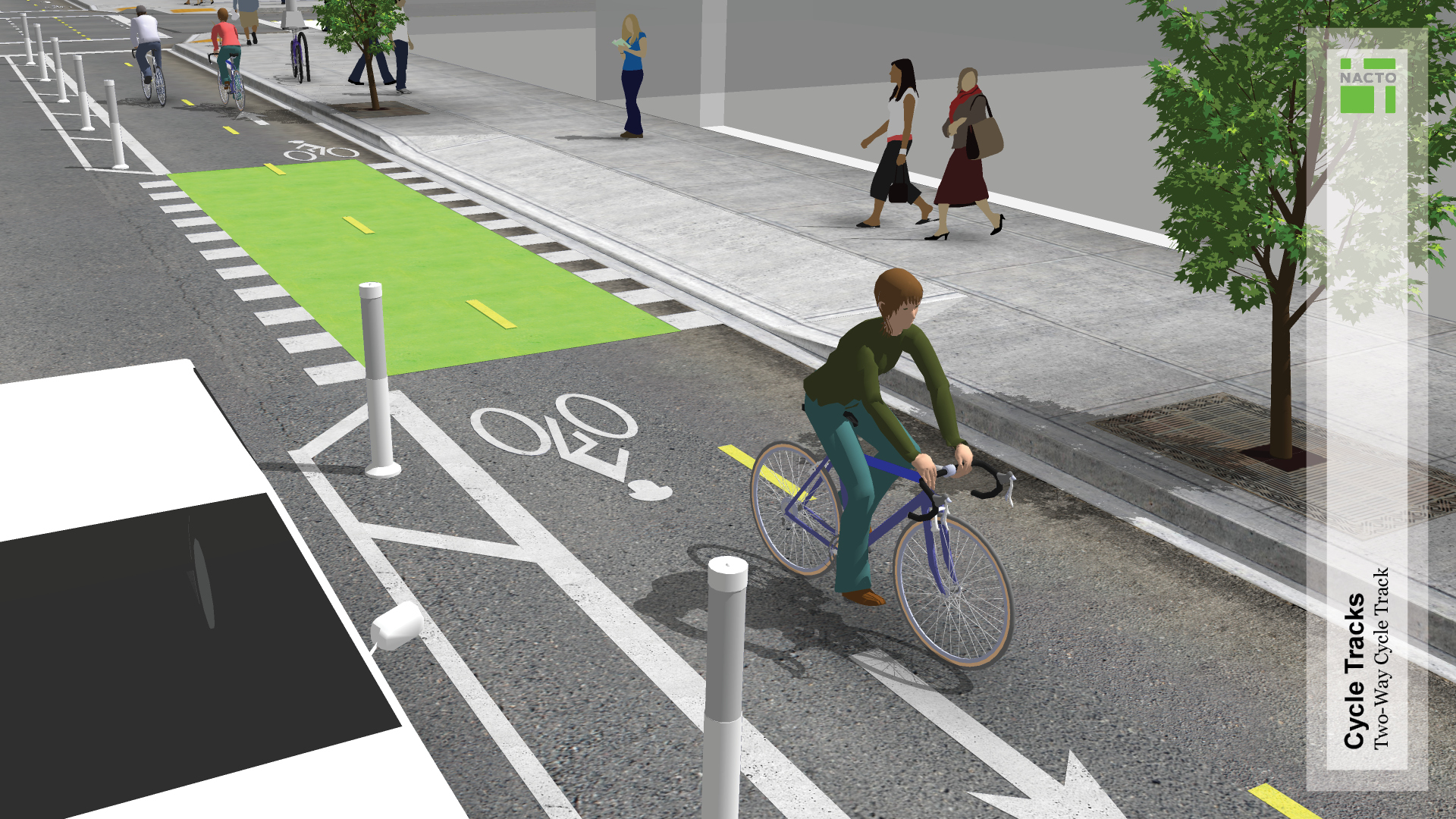 When complete, the two-way parking protected lane will resemble this rendering.