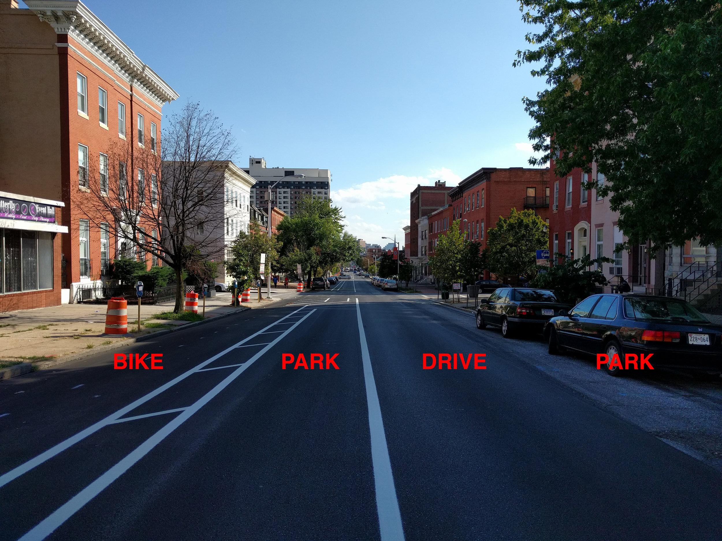 Left to right: two-way bike lane, parking lane, car driving lane, parking lane.