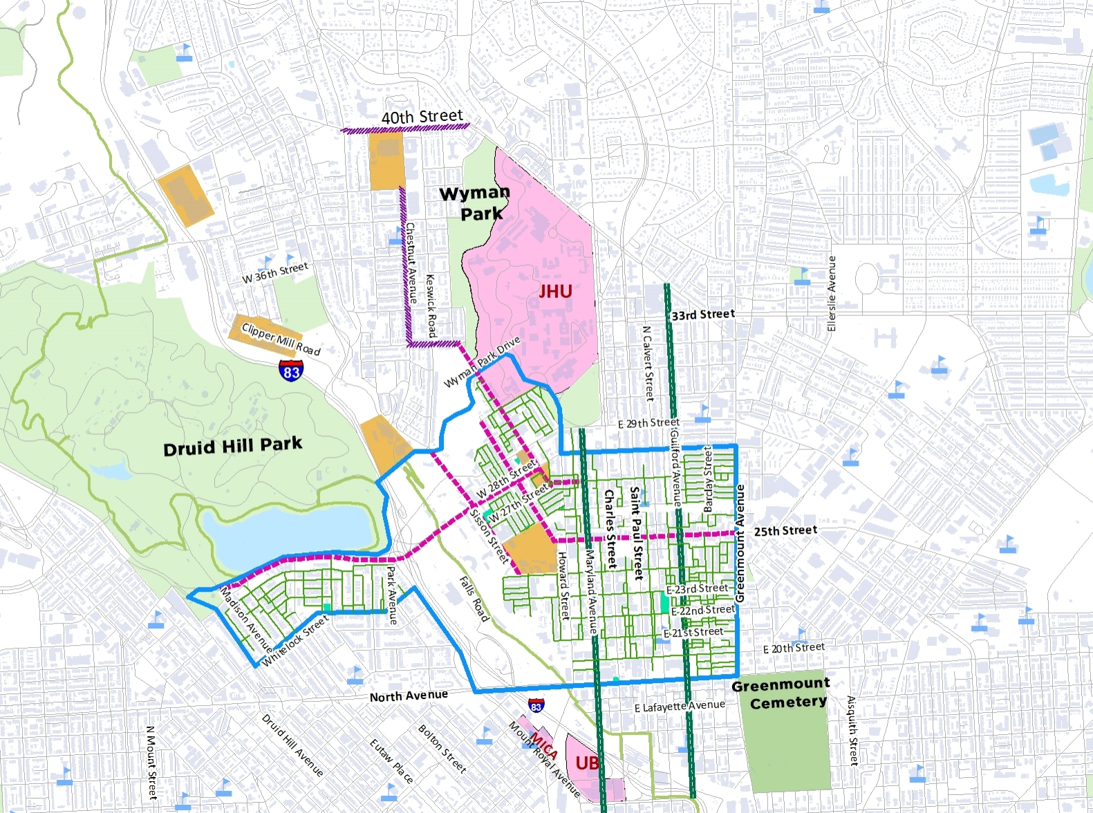 Big Jump Study Area with existing low stress bike connections and proposed connections.jpg