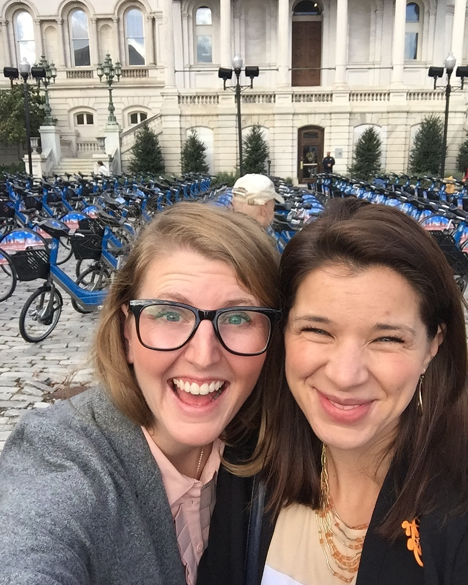 Liz Cornish and Caitlin Doolin at the Baltimore Bike Share Launch.