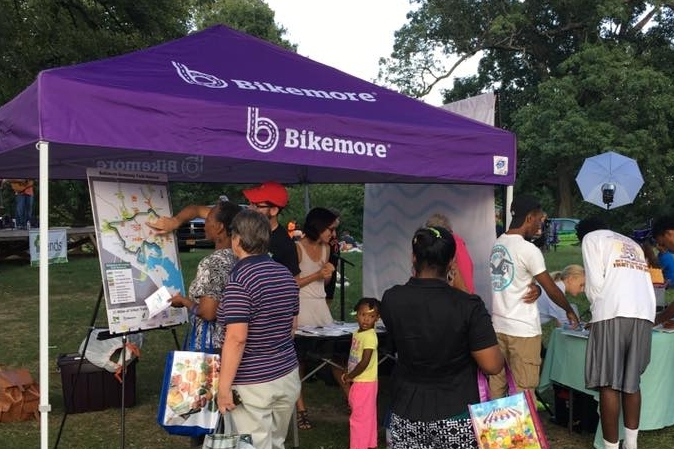 BIKEMORE BOOTH  We set up our tent at a community event and talk to people about Bikemore! You might help with set up or clean up, talk to people about what Bikemore does, or answer questions about biking in Baltimore. You'll always be paired with a Bikemore staff or board member if there are questions you don't know the answer to.