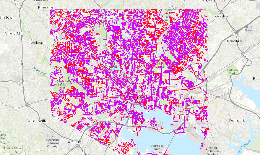 Our existing street network analyzed for clear width. Purple streets would need parking removed on both sides of the street to be compliant. Red streets would need parking removed on one side of the street to be compliant.