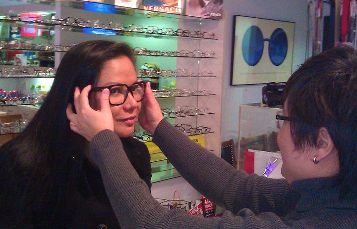 Top Model Bessie Badilla tries on the new pair of eye glasses suggested by our stylist- Boston Dolina