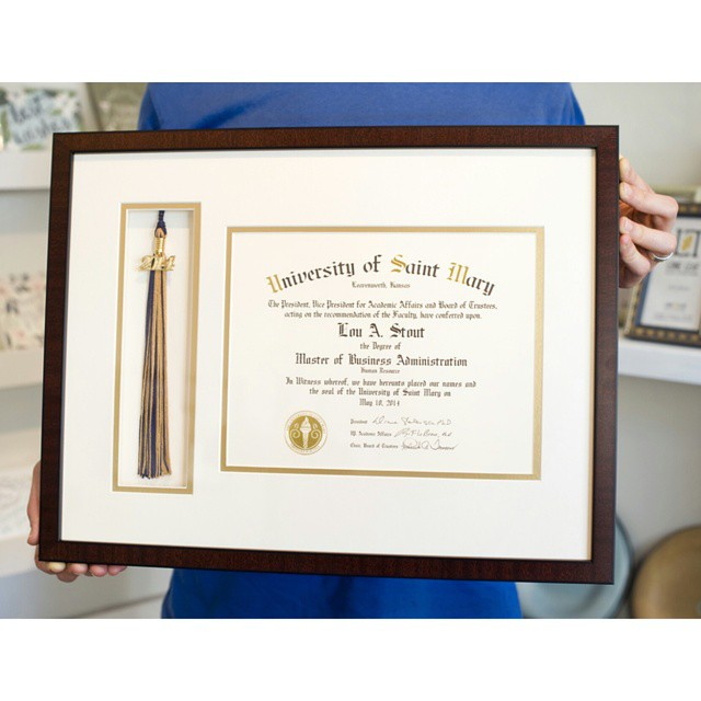 Look What We Framed... Including a tassel alongside your diploma creates a unique way to preserve your academic accomplishments. #loneleafgallery #customframing #graduate #diploma #college #graduation
