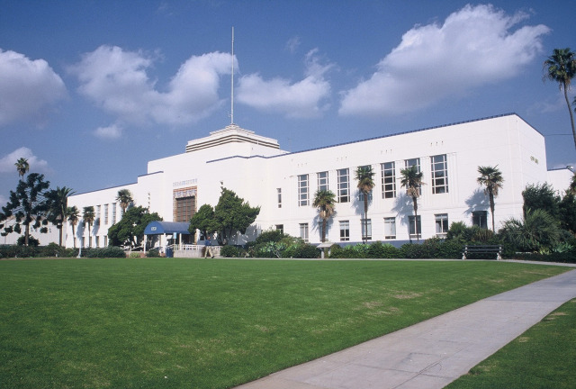 The 1 acre lawn in front of Santa Monica City Hall is across the street from the rest of the project site