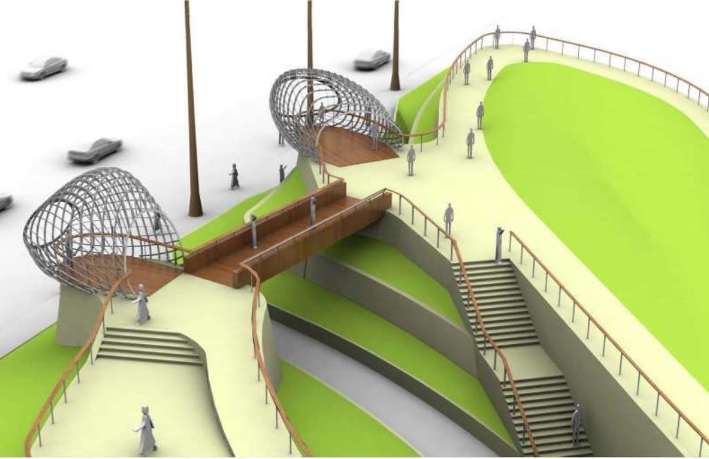 Aerial rendering of overlook structures