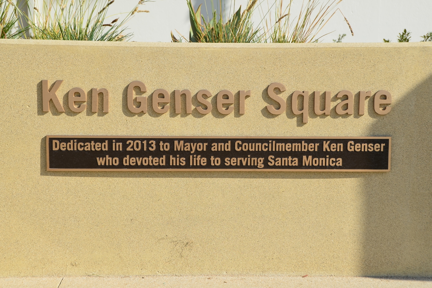 The dedication plaque in front of City Hall