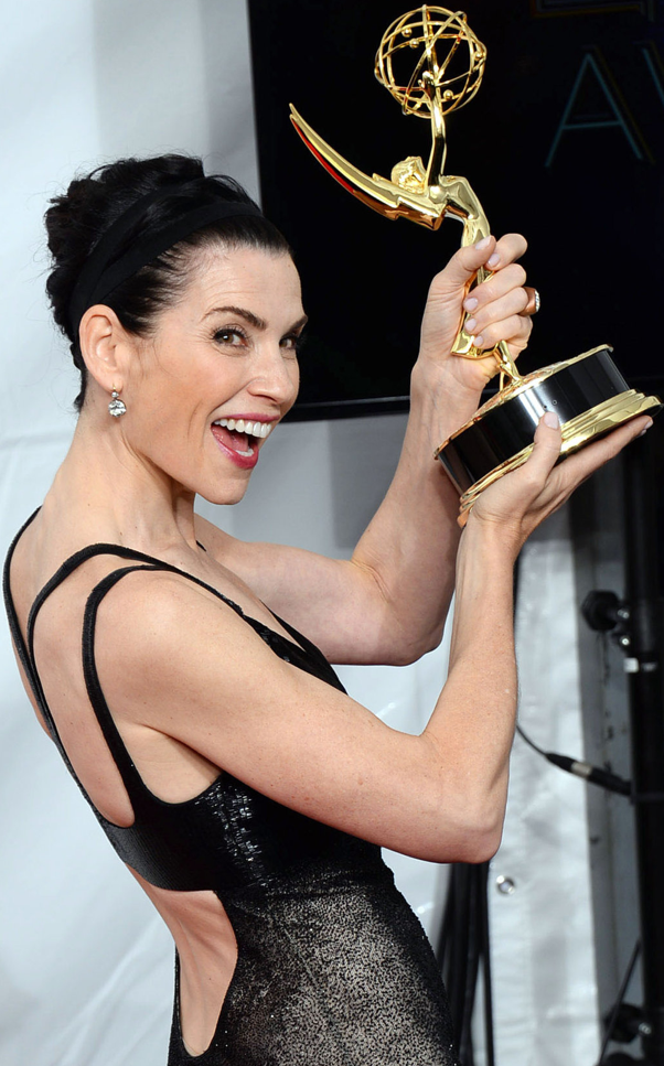 "Julianna Margulies's new Emmy for ""The Good Wife.""   Credit Jordan Strauss/Invision, via Associated Press"
