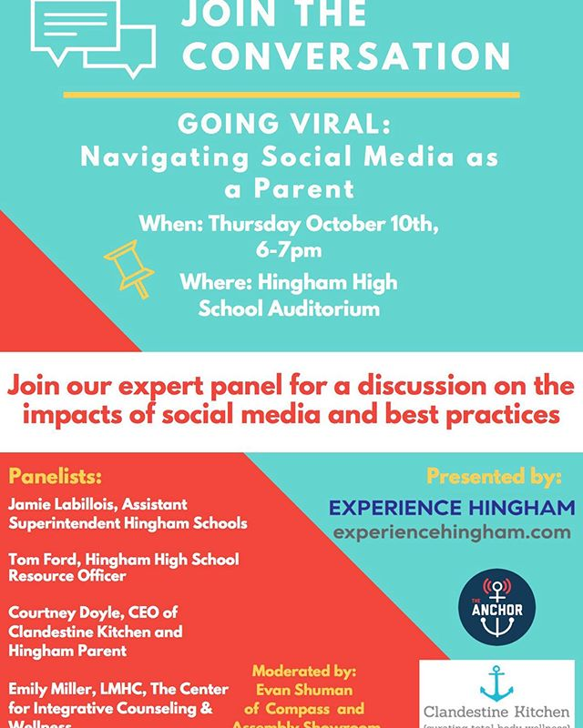 Join me on Thursday evening 10/10 for a panel discussion on navigating social media as a parent.