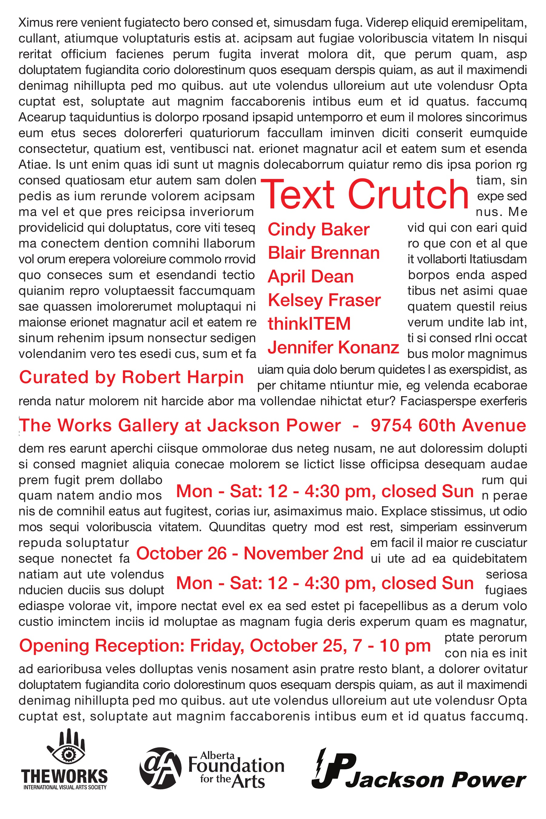 Text Crutch, Curated by Robert Harpin (2013)