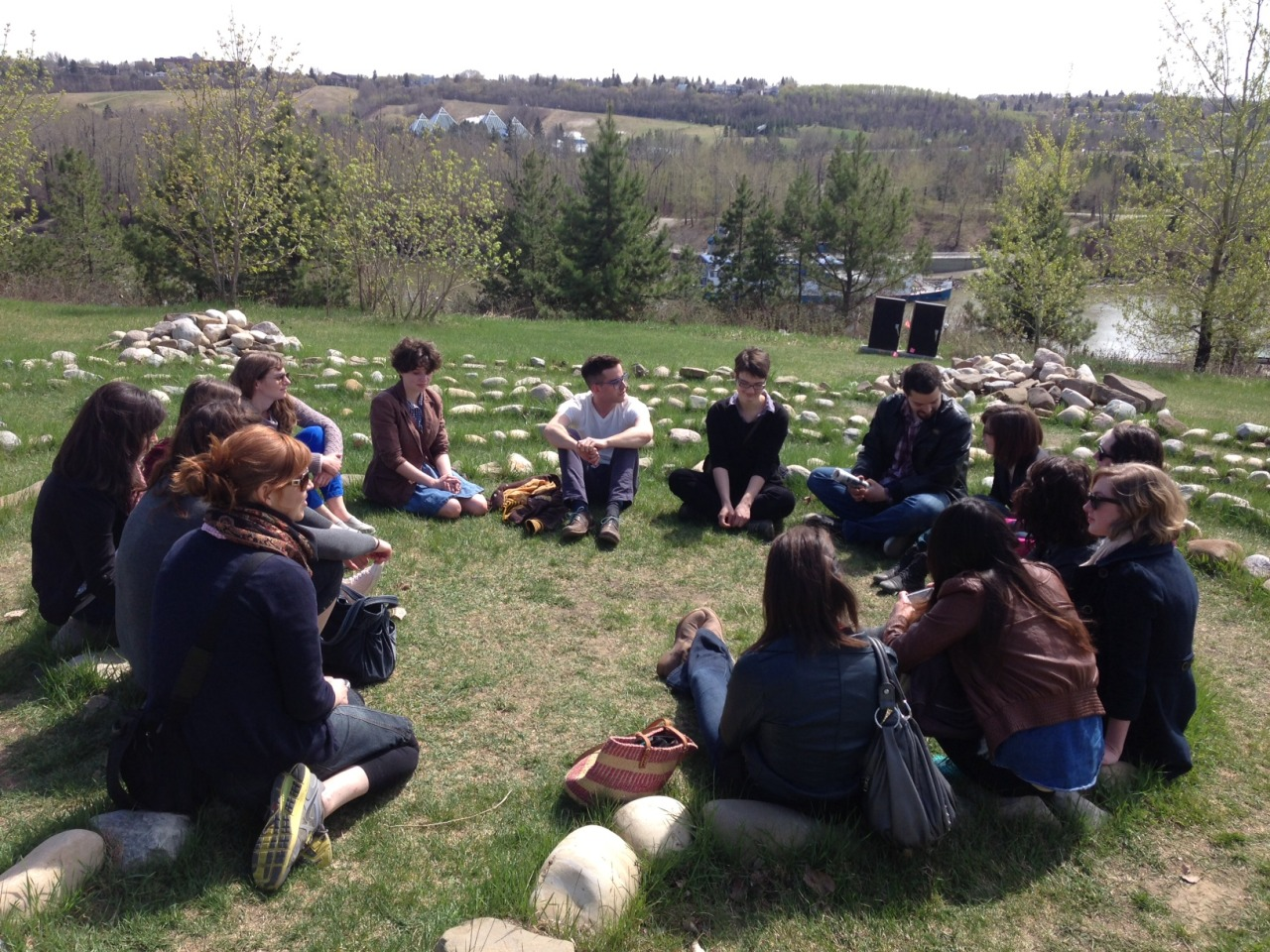 Interns discussing Lea Dorion's  Turtle Rock Effigy Labyrinth  in Louise McKinney Park, downtown Edmonton. Dorion's work was created as part of The Works Art & Design Festival in 2010. Just another day at the office!