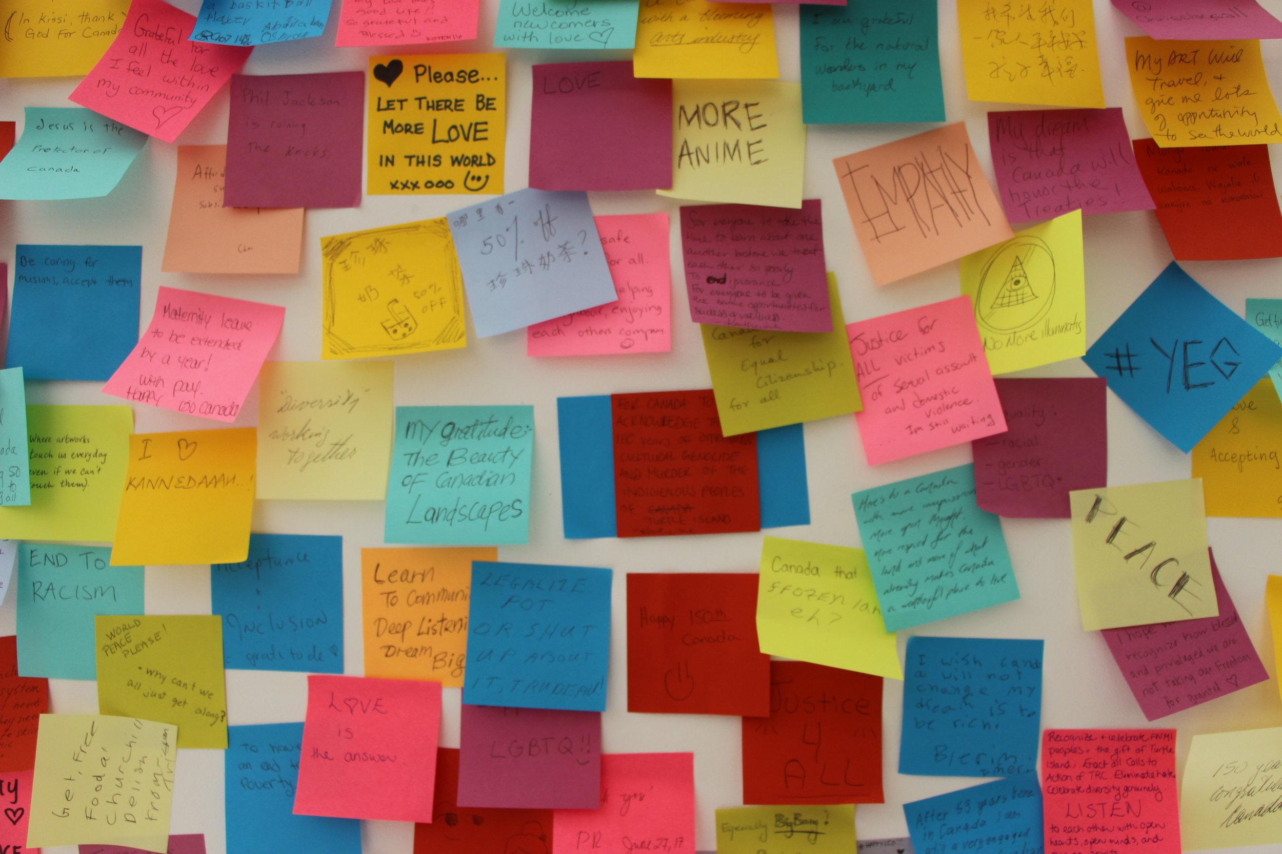 """A Possible Canada"" asks visitors to post gratitudes, dreams, visions for a possible Canada."