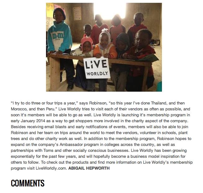 ZINK Magazine Website, published November 5, 2013