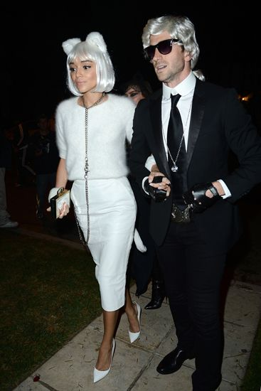 Ashley Madekwe and her boyfriend arrive at a Halloween party in style (2013).