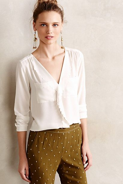 Anthropology Scalloped Remi Blouse