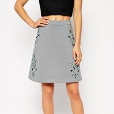 Embellished Scuba Skirt