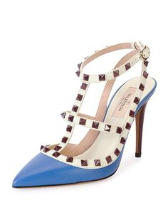 Valentino Rockstud Blue and Brown