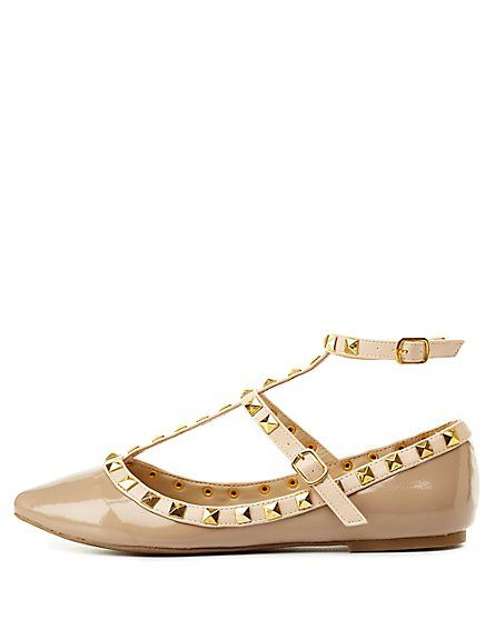 Charlotte Russe Studded T-Strap Flat