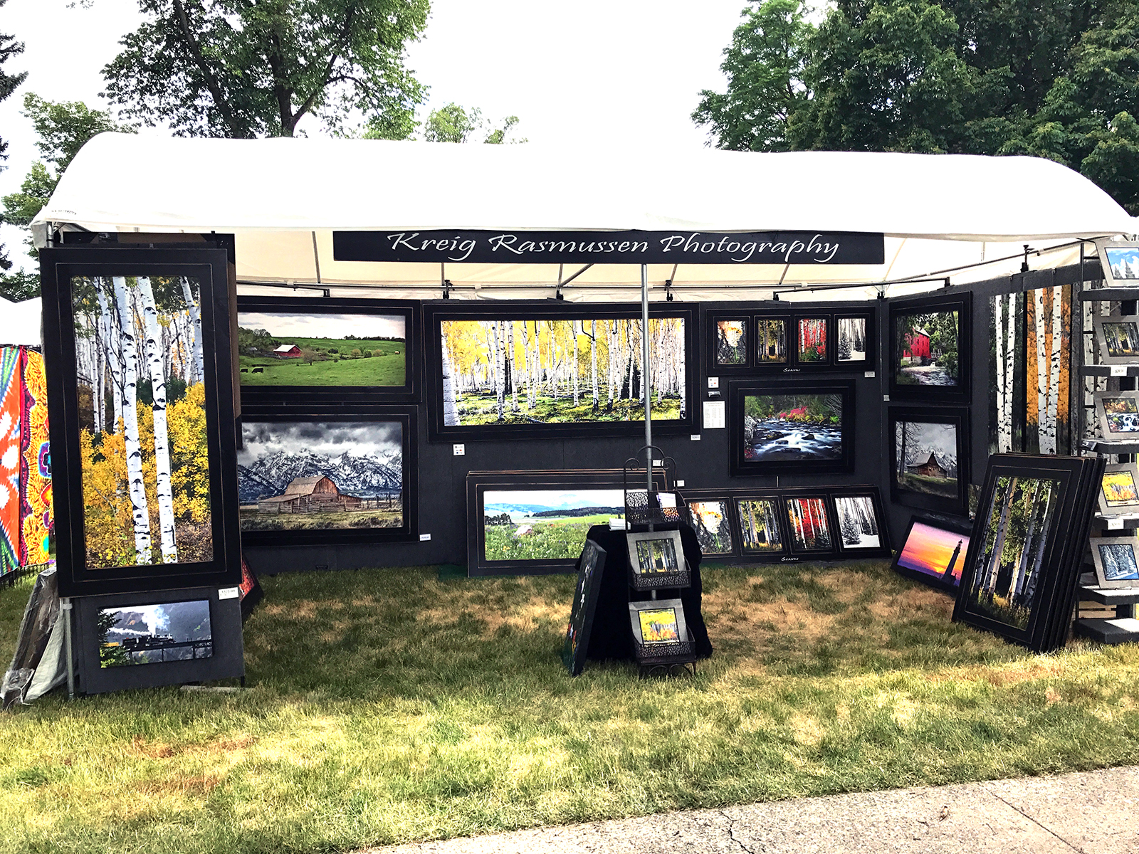 """Our new Light Dome booth allows us to display our large framed artwork. It's 9 feet tall. Look for us at the next art show. We will be at Swiss Days 2017 on the very south end of the square next to the main road in the """"A"""" section. Come see us on Labor Day weekend in Midway, Utah."""