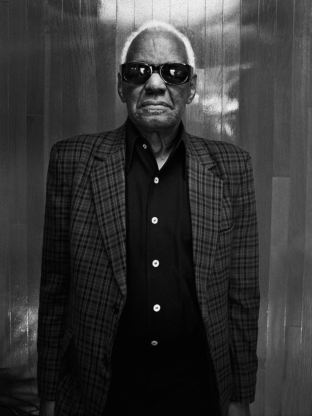 Ray Charles photographed by NYC photographer Patrik Andersson at Ray's music production studio in Los Angeles