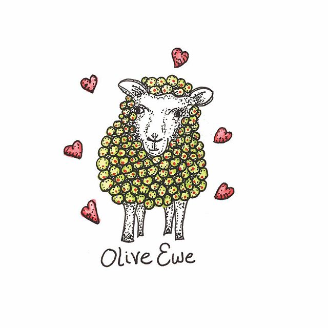 Olive Ewe  Valentines here: https://society6.com/product/olive-ewe1864763_cards  #art #love #pun #valentinesday2018 #valentines #sheep #olive #funny #punny #drawing #ink #inkdrawing #romance