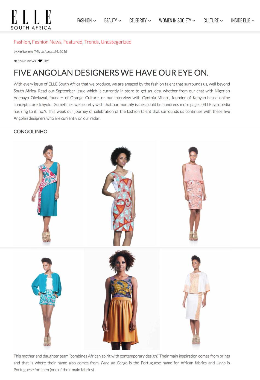 ELLE South Africa, 24 Agosto 2016, veja  AQUI
