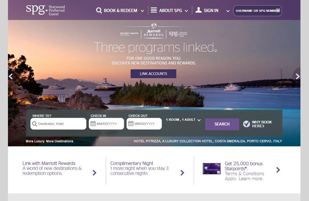Link Marriott Rewards on SPG Website