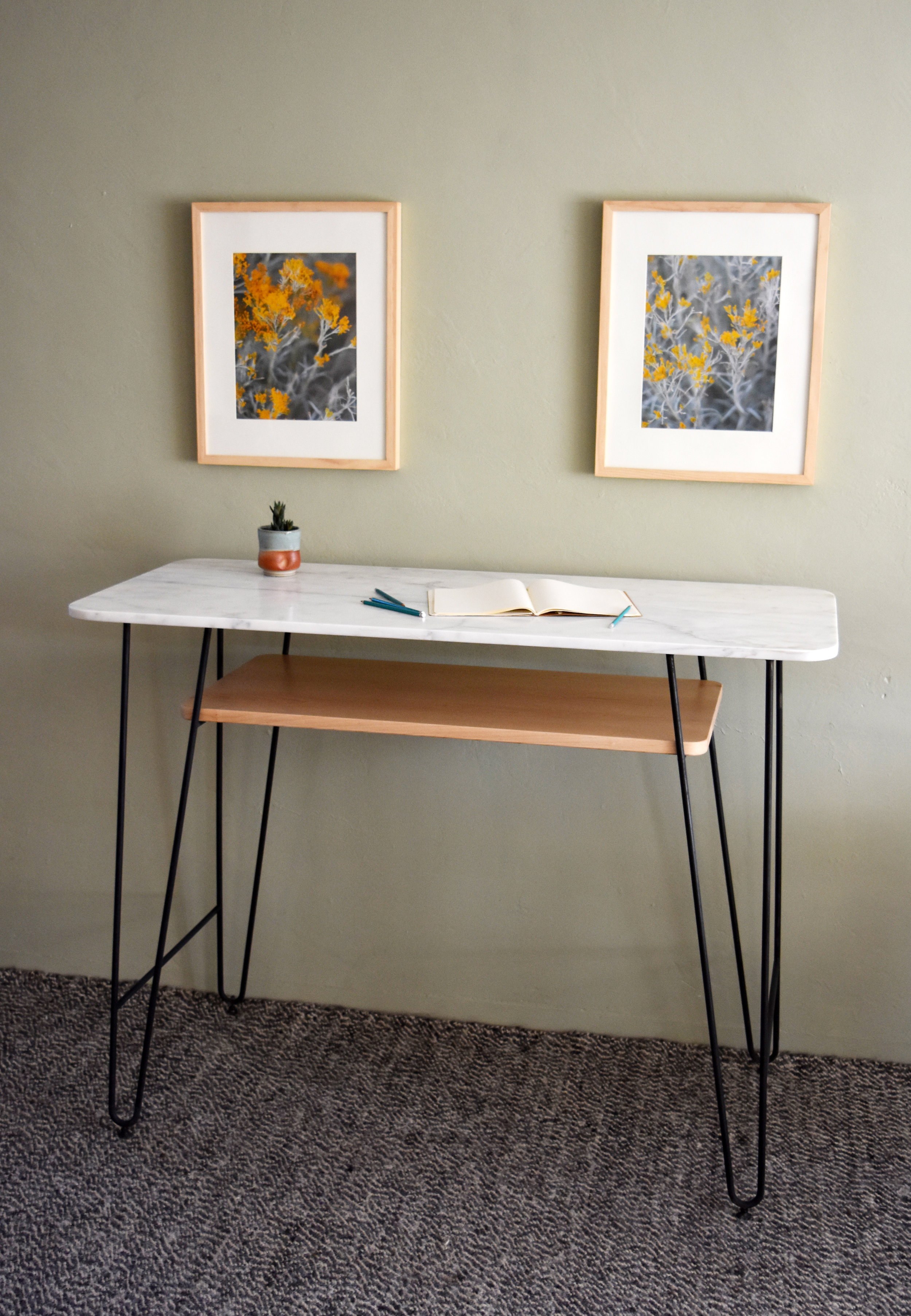Marble and Maple slab standing height desk designed for a calligrapher.