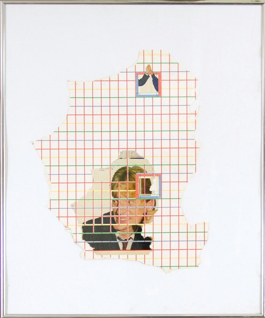 untitled   found dutch tabloid, salvaged wallpaper, glue, rubber cement, mat board, found frame    2012
