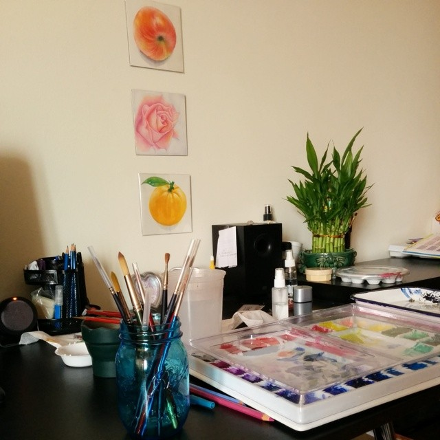 A quick snap at my desk studio mess when I'm working on a painting