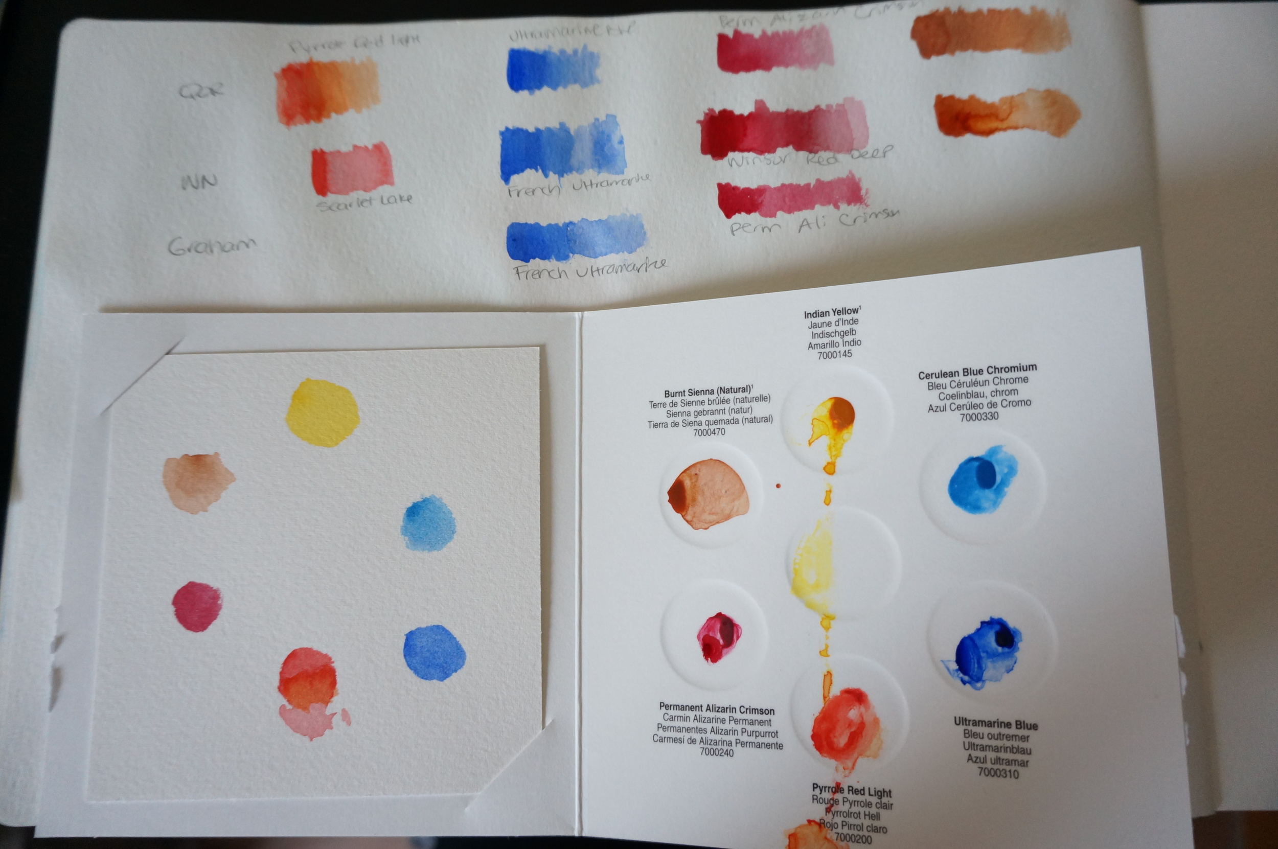 Introductory Card Samples -Featuring: Indian Yellow, Cerulean Blue Chromium, Permanent Alizarin Crimson, Pyrrole Red Light, Ultramarine Blue