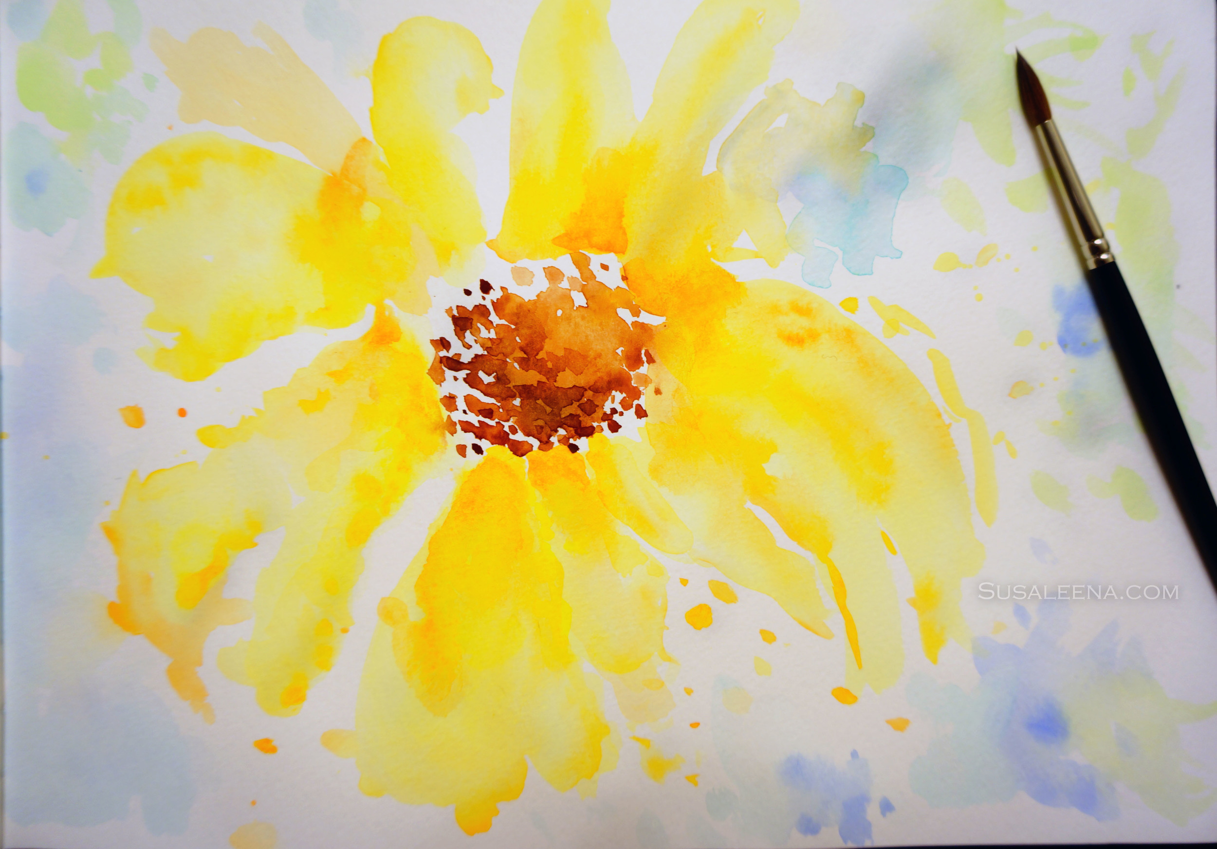 A quick painting of a Black-Eyed Susan in a loose abstract style