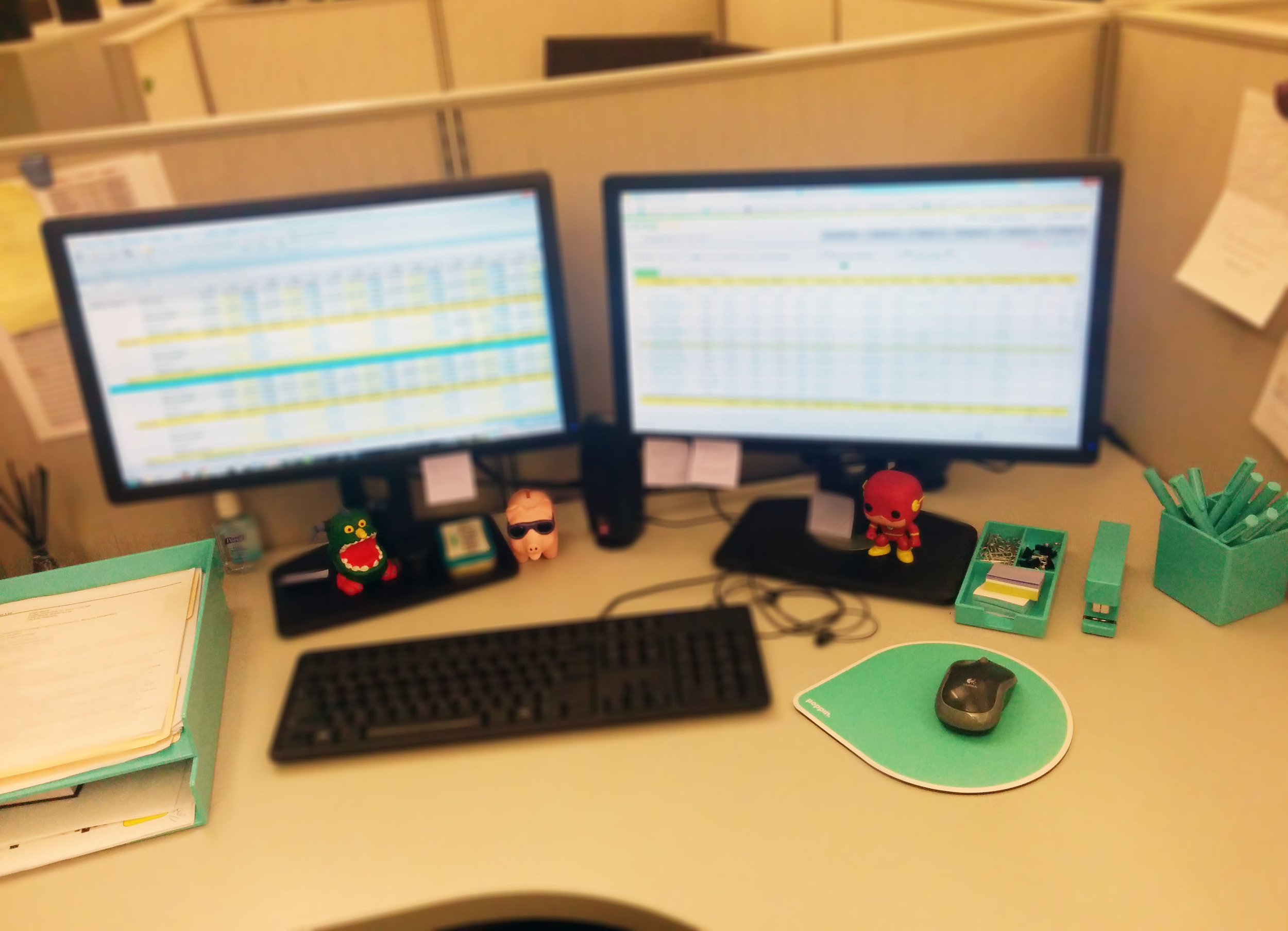 Shiny new desk organizers! Yes, I blurred out everything else. Work is confidential! ;)