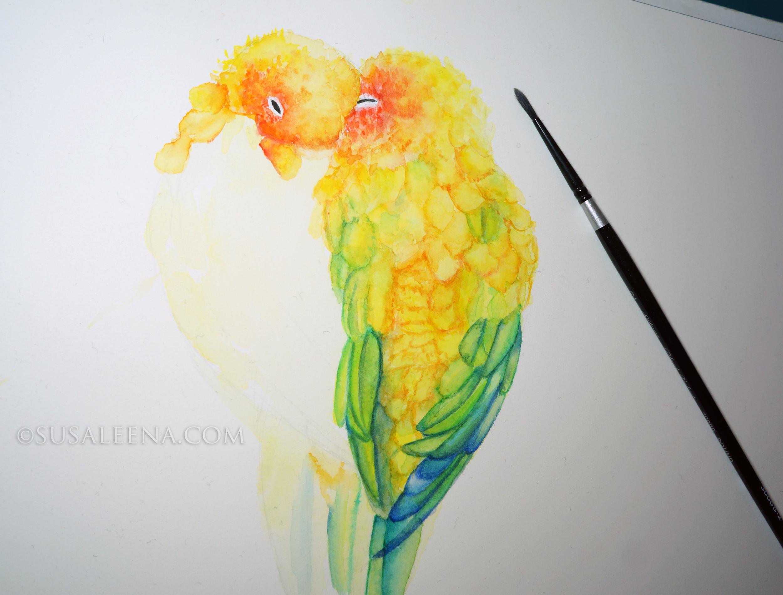 Lovebirds cuddling in the shape of a heart. Hope I finish soon!