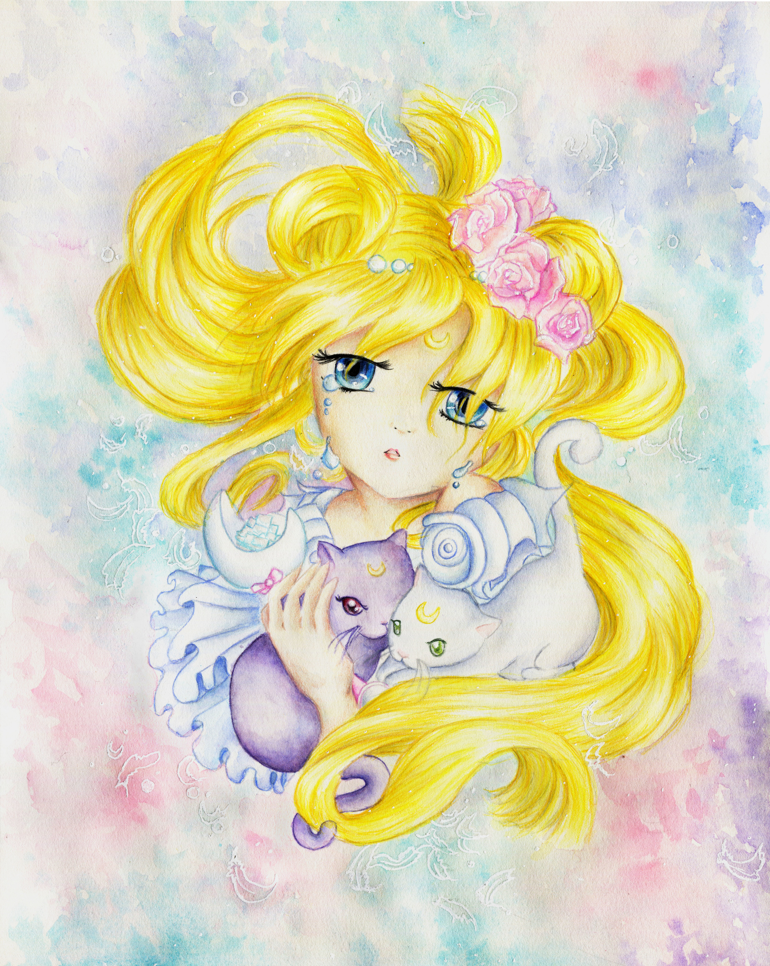 """The scanned version of the final work. Her skin looks a bit darker and her hair is leaning toward a lemon yellow instead of """"sunshine"""" yellow."""