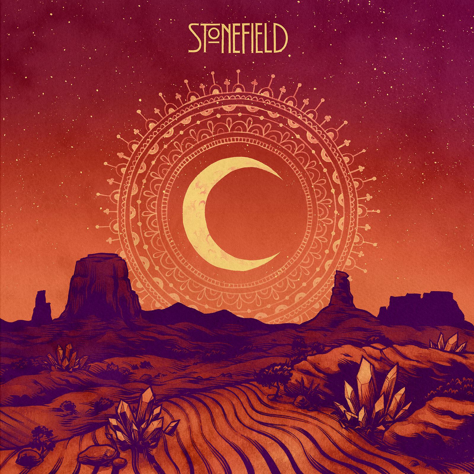 Cover illustration for Stonefield's 2013 self-titled LP