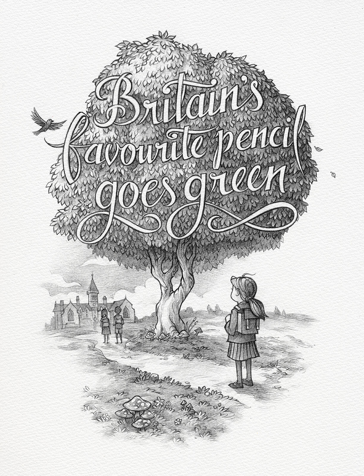 Illustration for Staedtler Noris Eco pencil ad