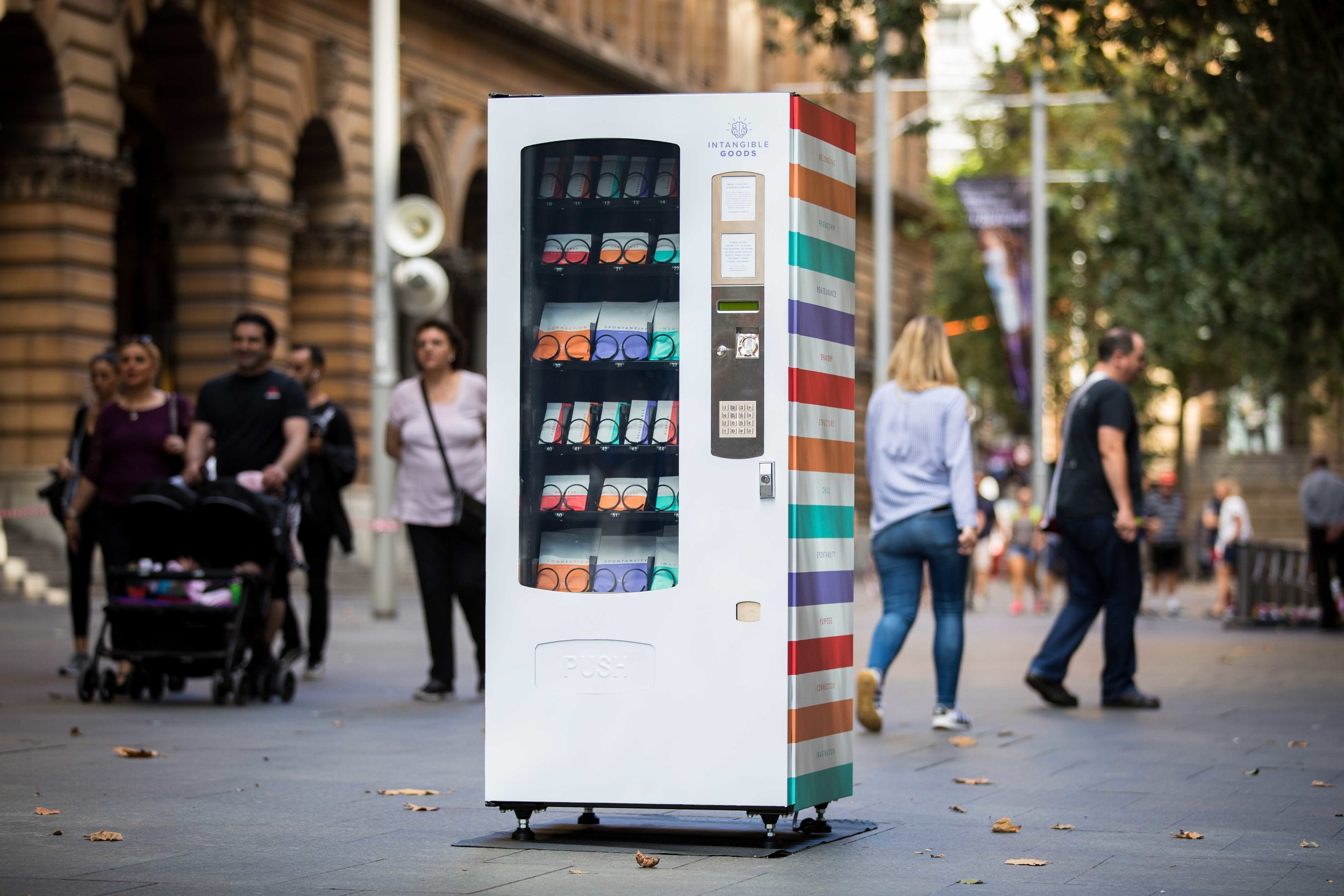 The Intangible Goods vending machine doing its thing in Martin Place.