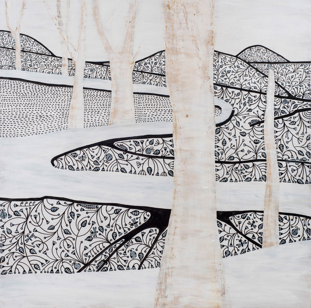 A Path  Acrylic & markers on wood, 120X120cm
