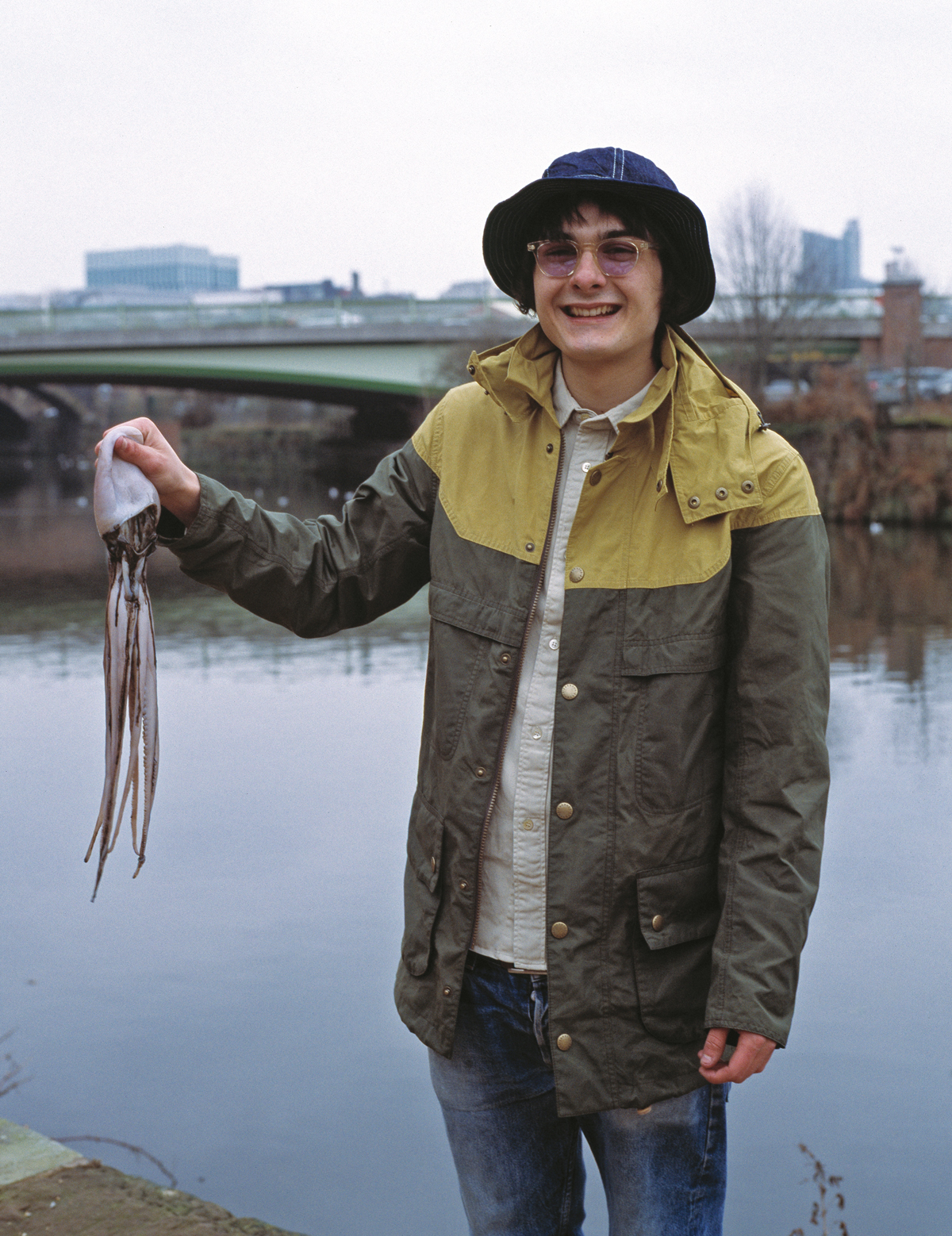 Hat by Beams+, jacket by Barbour, shirt by Levi's Vintage Clothing, squid – model's own
