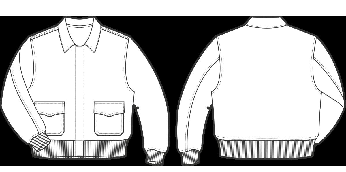A-2, 1930 Shirt collar, zipper fastened front.