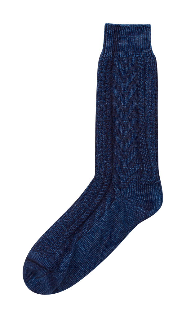 Anonymous Ism Indigo Cable Crew Sock £28