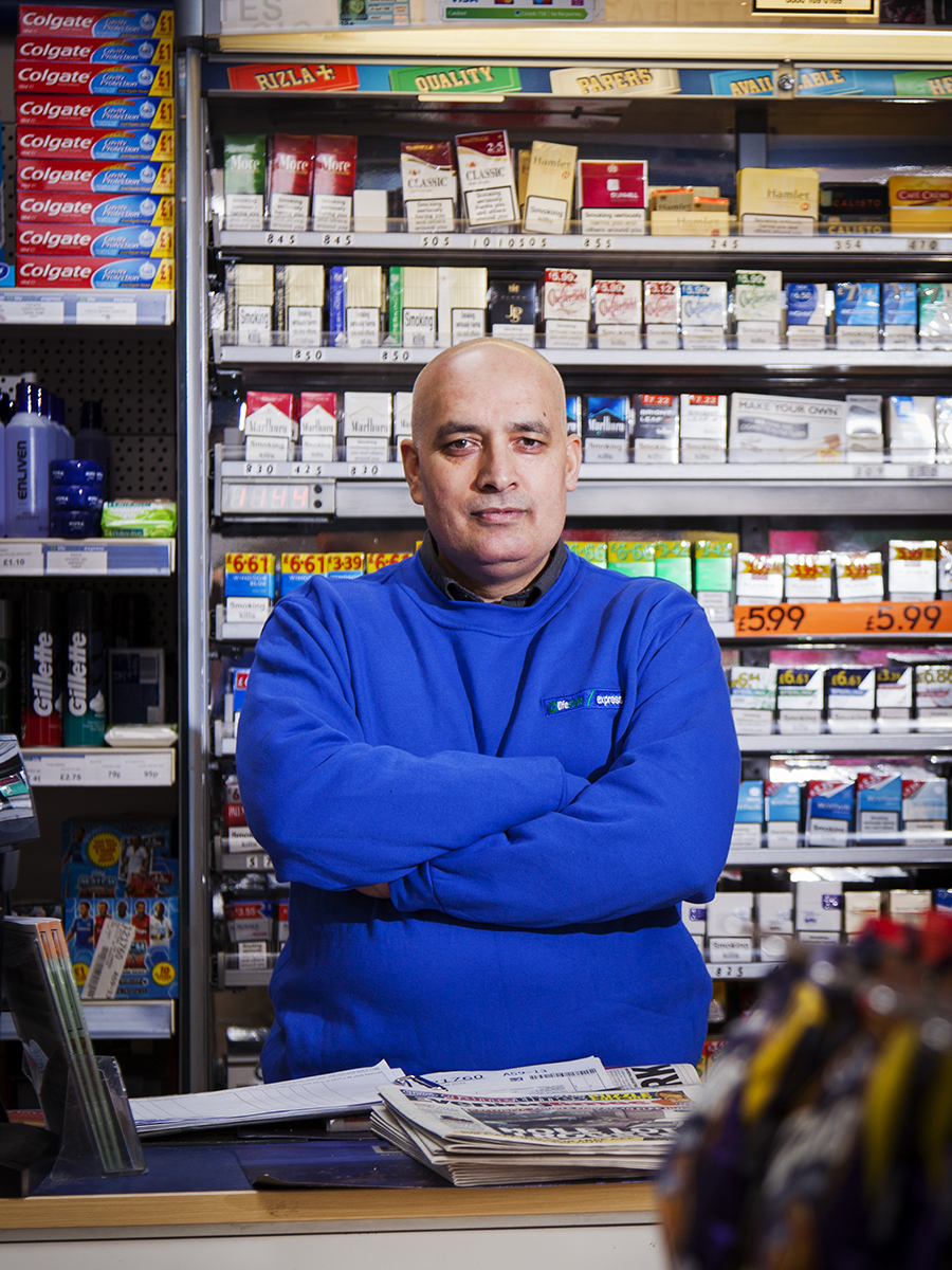 Mr Amjed Pervez in his Lifestyle Express store on Dukes Rd Glasgow.