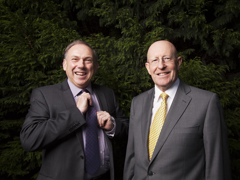 Geoff Craythorne (yellow tie), finance director, and Colin Mann, MD of Scottish Woodlands. Shot at St Johnstone Stadium. Perth, Scotland.