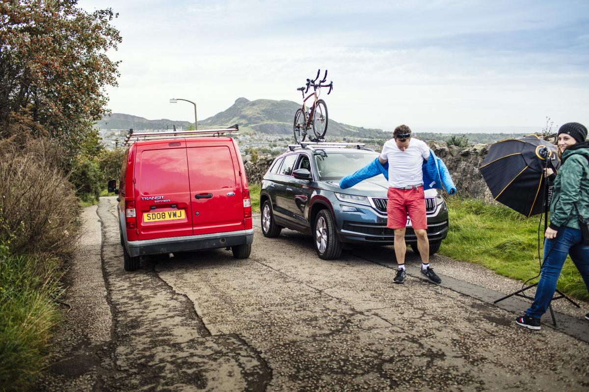 Cyclist Mark Beaumont on location in Edinburgh.