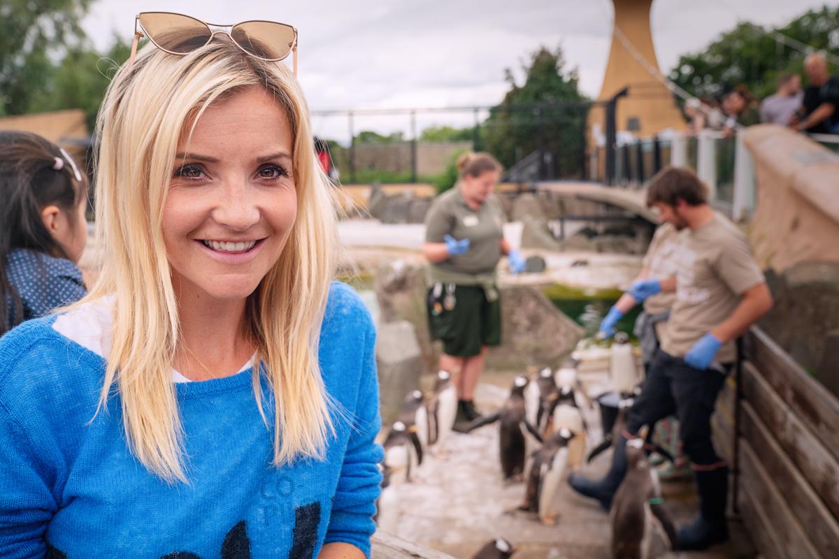 Helen Skelton at The Edinburgh Zoo for Channel 5.
