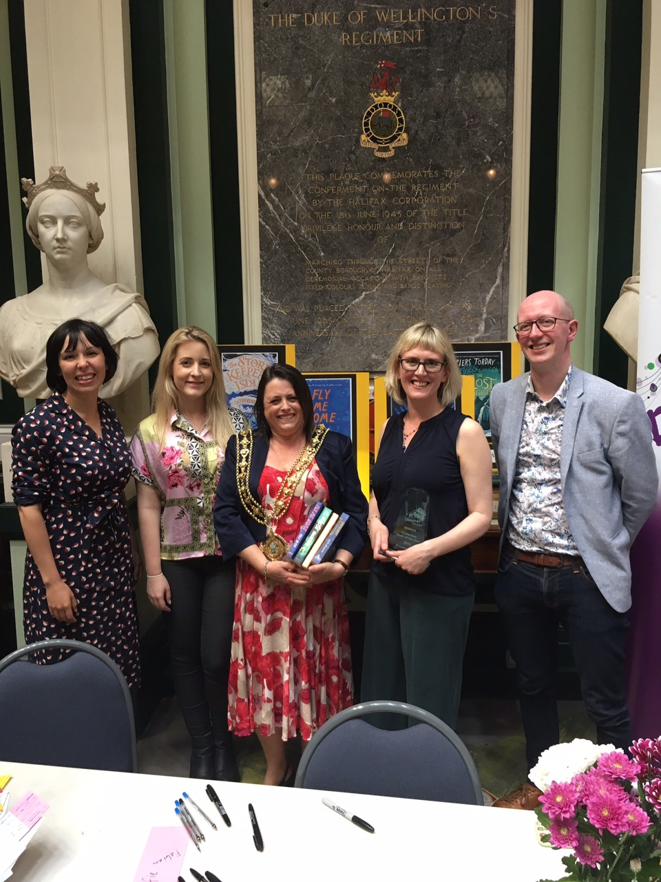 The shortlisted authors with Calderdale Mayor Dot Foster